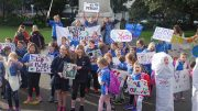 Wellington schoolchildren protest outside Parliament Photo: RNZ / Mei Heron
