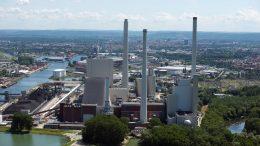 The RDK8 steam power plant at the Rheinhafen-Dampfkraftwerk electrical generation facility in Karlsruhe, Germany.