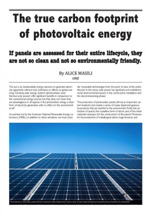 The true carbon footprint of photovoltaic energy – ONE Only