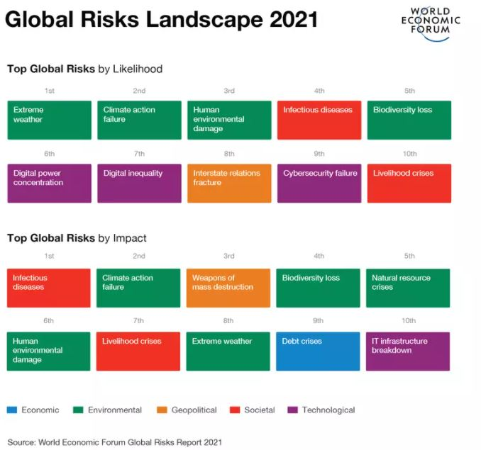 Top global risks in 2021 by likelihood and impact Image: World Economic Forum