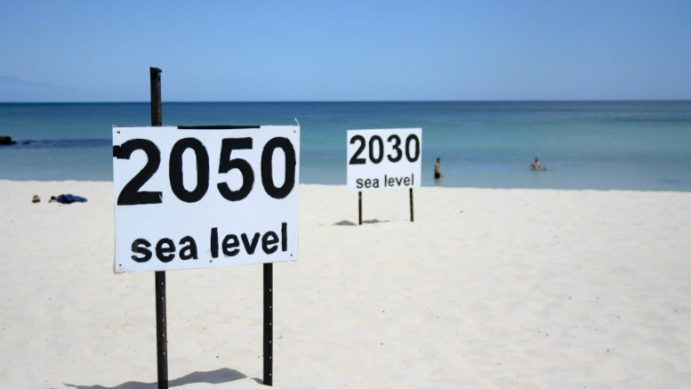 Rising sea levels   One prediction of where rising sea level will end up at Cottesloe Beach. photo by Julie G   Flickr